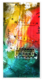 Poster  guitar music colorful collage rock n roll - Michael artefacti