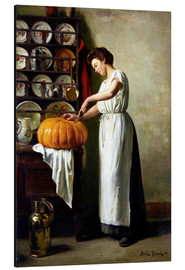 Tableau en aluminium  Carving the pumpkin - Franck Antoine Bail
