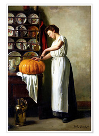 Poster  Carving the pumpkin - Franck Antoine Bail