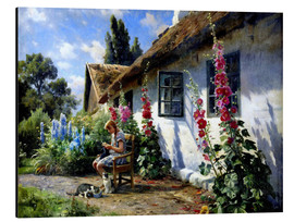 Alu-Dibond  Knitting girl in front of a hollyhock - Peder Mork Mönsted