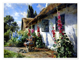 Poster  Knitting girl in front of a hollyhock - Peder Mork Mönsted