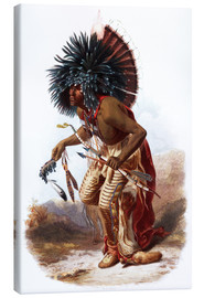 Toile  Indians with blue feathered headdress - Karl Bodmer