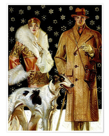 Poster  Couple with a greyhound - Joseph Christian Leyendecker