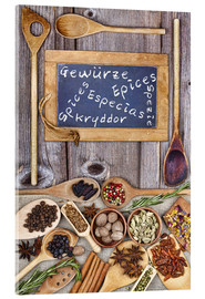 Tableau en verre acrylique  Spices in different languages - Thomas Klee