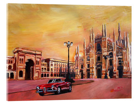 Tableau en verre acrylique  Milan Cathedral with Oldtimer Convertible Alfa Romeo - M. Bleichner