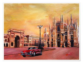 Poster  Milan Cathedral with Oldtimer Convertible Alfa Romeo - M. Bleichner