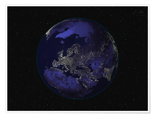 Poster Earth at night - Europe