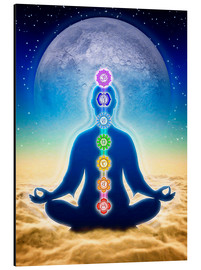 Alu-Dibond  In Meditation With Chakras - Blue Moon Edition - Dirk Czarnota