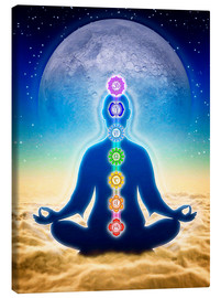 Toile  In Meditation With Chakras - Blue Moon Edition - Dirk Czarnota
