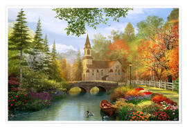 Poster The secluded church in autumn