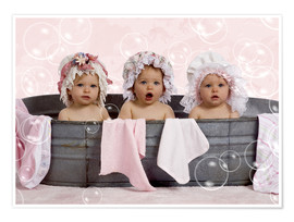 Poster  Toddlers in flowery bonnets - Eva Freyss