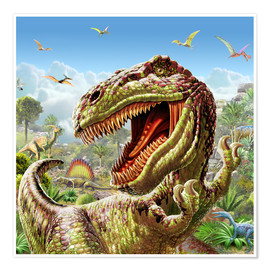 Poster  Tyrannosaure et dinosaures - Adrian Chesterman