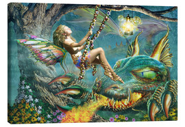 Tableau sur toile  Dragon and fairy swing - Adrian Chesterman