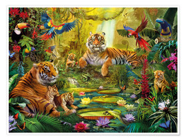 Poster  Tiger Family in the Jungle - Jan Patrik Krasny