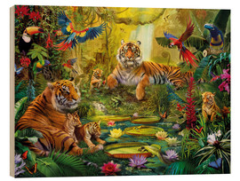 Tableau en bois  Tiger Family in the Jungle - Jan Patrik Krasny