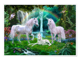 Poster  Rainbow Unicorn Family - Jan Patrik Krasny