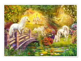 Poster  Enchanted garden unicorns - Jan Patrik Krasny