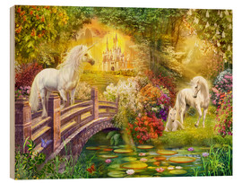 Tableau en bois  Enchanted garden unicorns - Jan Patrik Krasny