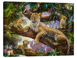 Tableau sur toile  Tree Top Leopard Family - Jan Patrik Krasny