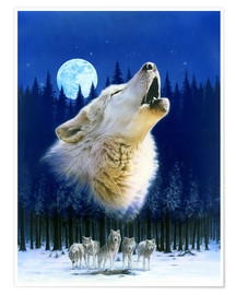 Poster Howling wolf