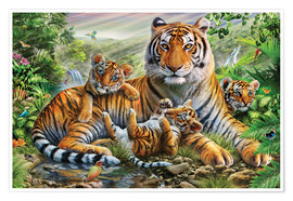 Poster  Tiger and Cubs - Adrian Chesterman
