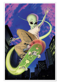 Poster  Alien skateboarder - Alien Invasion