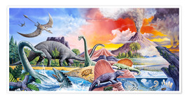 Poster  Dinosaurs volcano - Paul Simmons