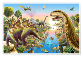 Poster  Jurassic River - Adrian Chesterman