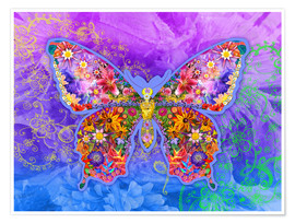 Poster Blue Butterfly Floral