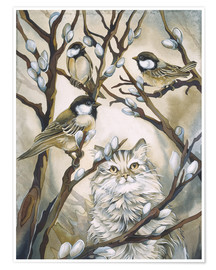 Poster Cat and birds
