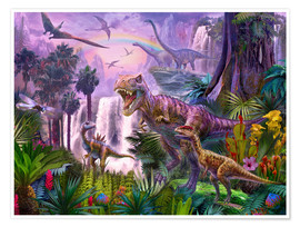 Poster  Dinosaures dans la jungle - Jan Patrik Krasny