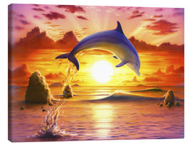 Tableau sur toile  Day of the dolphin - sunset - Robin Koni