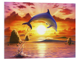 Tableau en PVC  Day of the dolphin - sunset - Robin Koni