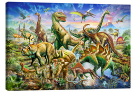 Toile  Assembly of dinosaurs - Adrian Chesterman