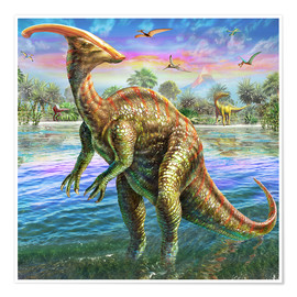 Poster  Parasaurolophus - Adrian Chesterman