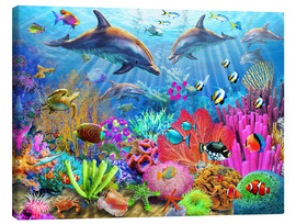 Toile  Dolphin Coral Reef - Adrian Chesterman