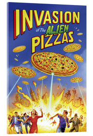 Tableau en verre acrylique  Invasion of the alien pizzas - Gareth Williams