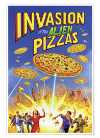 Poster  Invasion des pizzas extraterrestres (anglais) - Gareth Williams
