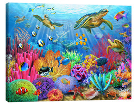 Toile  Turtle Coral Reef - Adrian Chesterman