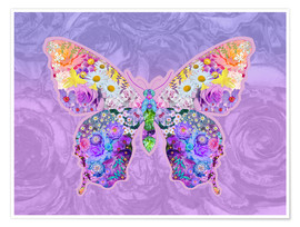 Poster Purple Floral Buttefly