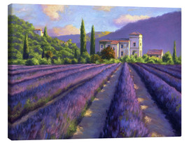 Tableau sur toile  Lavender field with Abbey - Jay Hurst