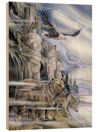 Tableau en bois  The three watchmen - Jody Bergsma