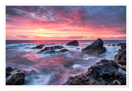 Poster  Sunset in Lanzarote at Los Hervideros - Andreas Wonisch