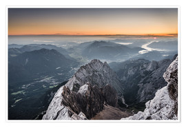 Poster Sunrise from Zugspitze mountain with view across the alps