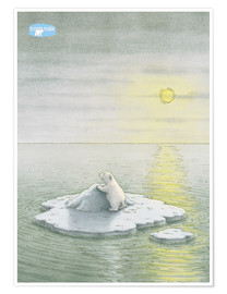 Poster  The Little Polar Bear on the ice floe