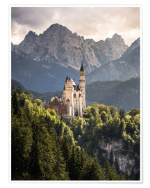 Poster  Neuschwanstein Castle in front of the Alps - Andreas Wonisch