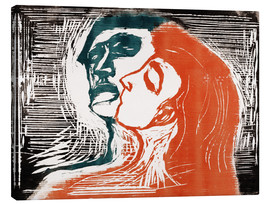 Tableau sur toile  Man and woman is kissing - Edvard Munch