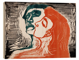 Tableau en bois  Man and woman is kissing - Edvard Munch