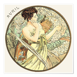 Poster  Les Mois - Avril - Alfons Mucha