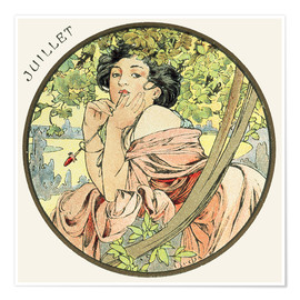Poster  Les Mois : Juillet - Alfons Mucha